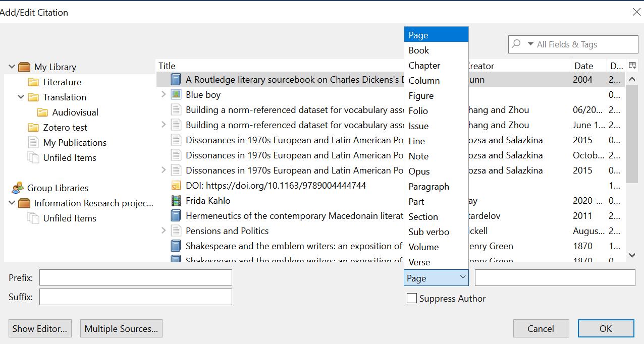 Edit citations dialog box screenshot