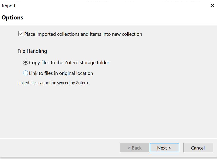 Dialog box importing files options