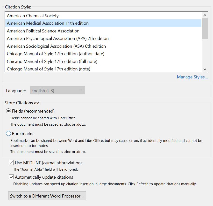 Zotero journal abbreviation option screenshot