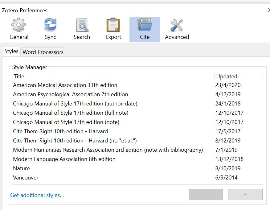 Preferences Cite screenshot