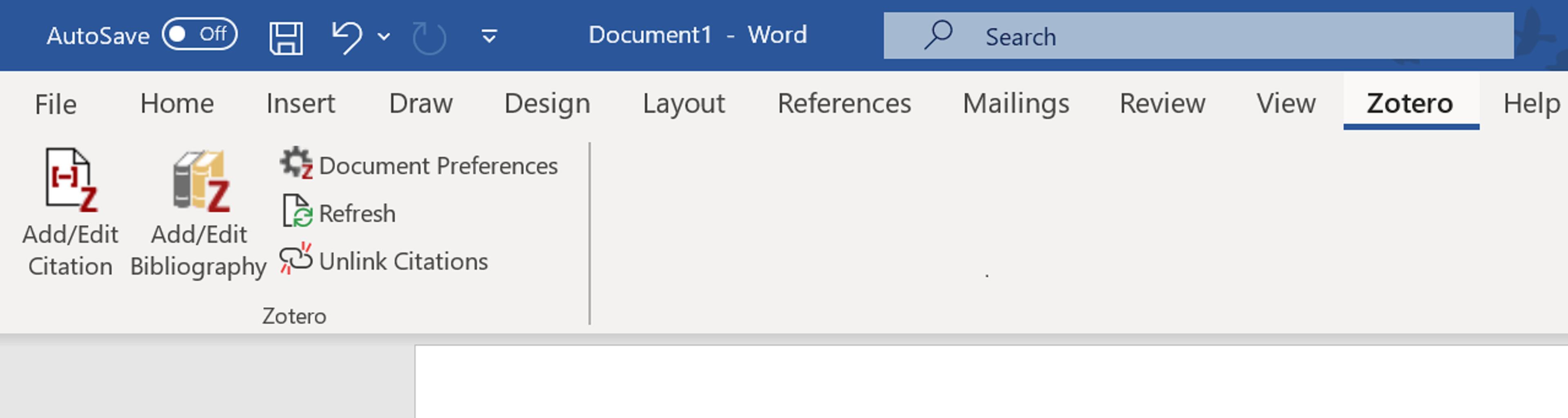 Zotero tab Word screenshot