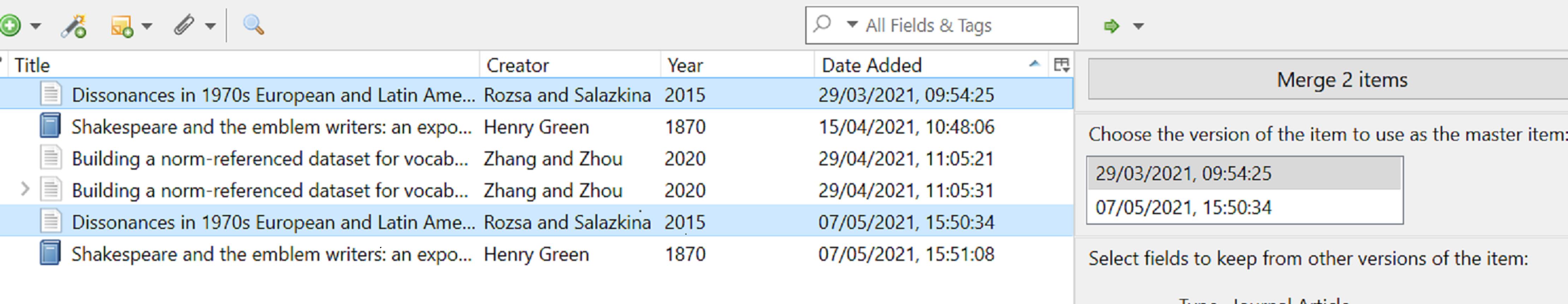 Zotero duplicates screenshot