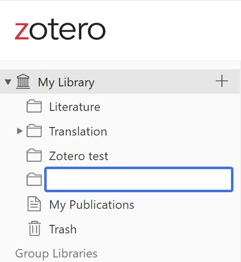 Zotero web collections screenshot