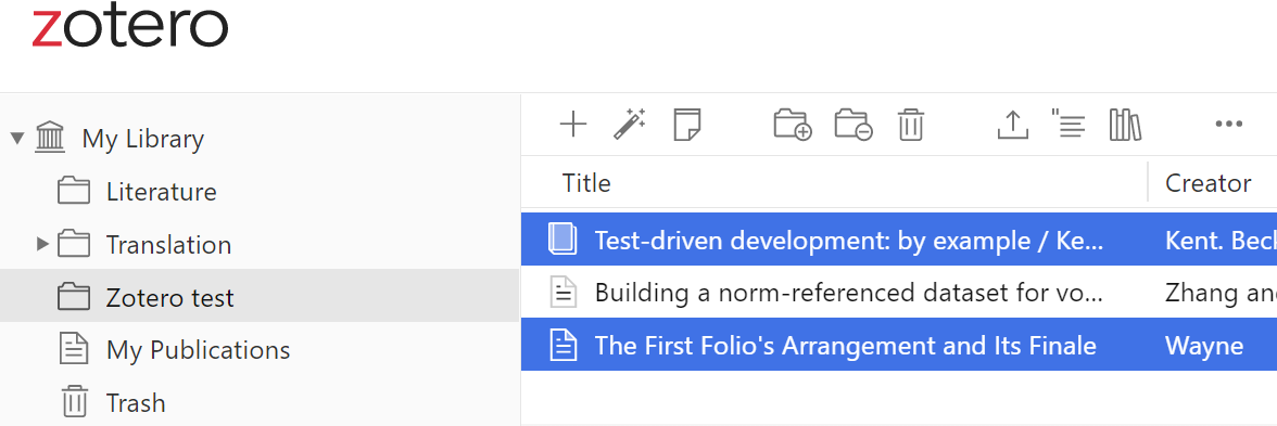 Zotero web items to collections screenshot