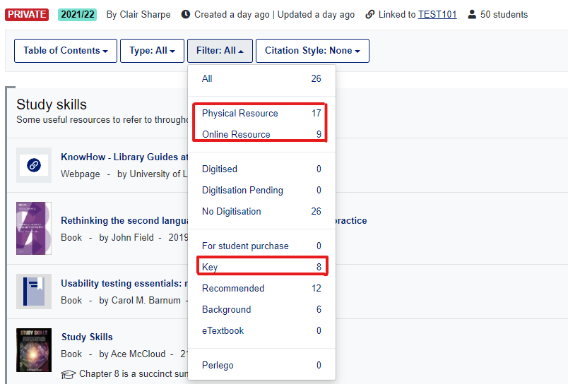 Reading list filter list view