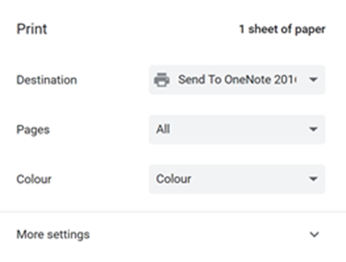 Screenshot showing Print settings/ destinations for OneDrive Online