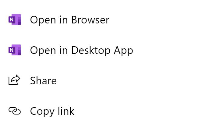 Screenshot of Onenote menu