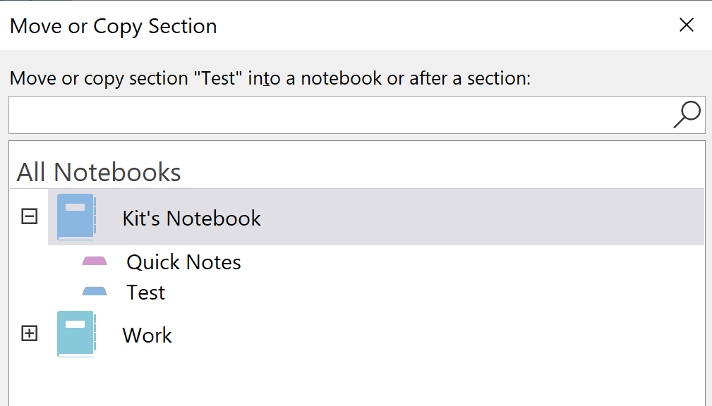Screenshot of OneNote showing options for choosing Notebooks to move or copy to