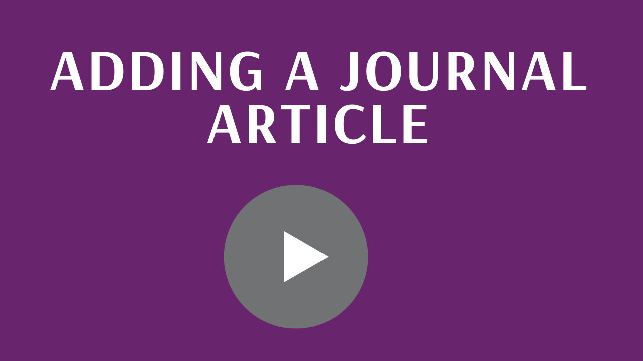 Adding a journal article - link to video