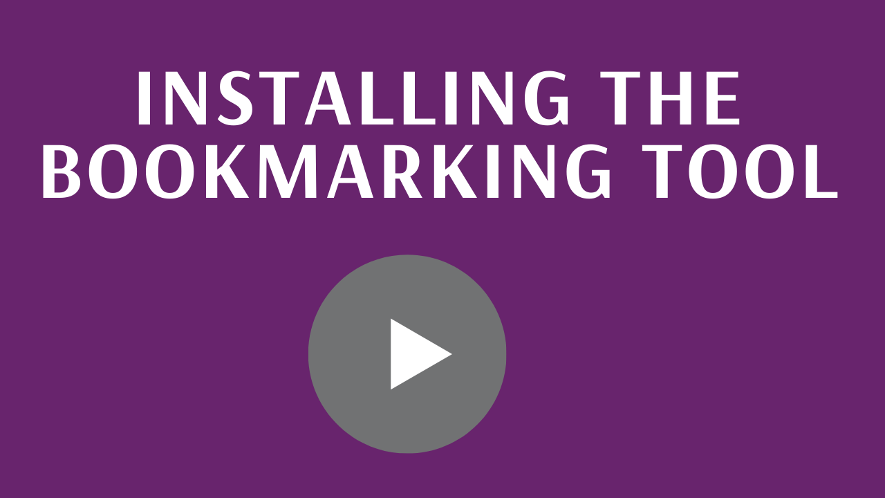 Installing the bookmarking tool - link to video
