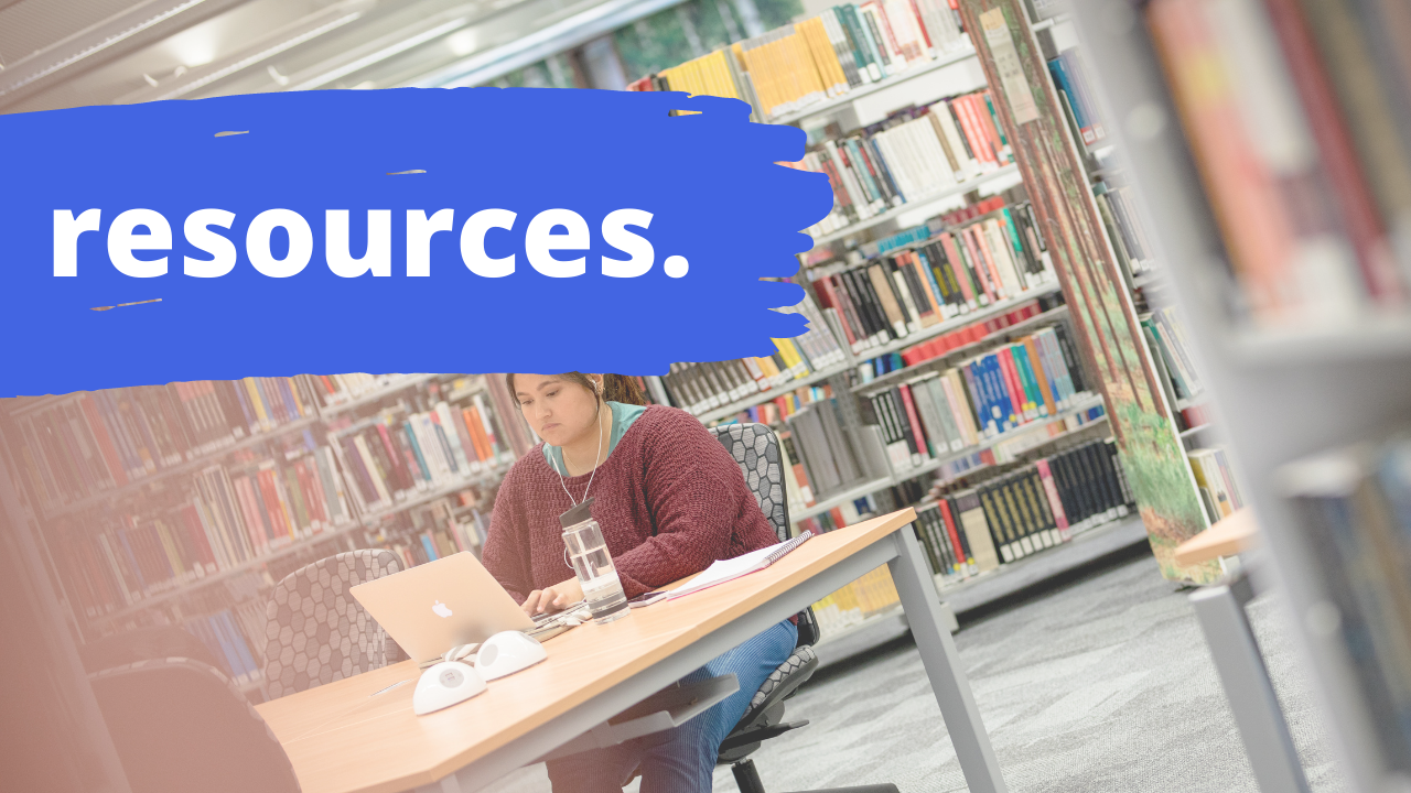 Student studying in main library with text overlay resources
