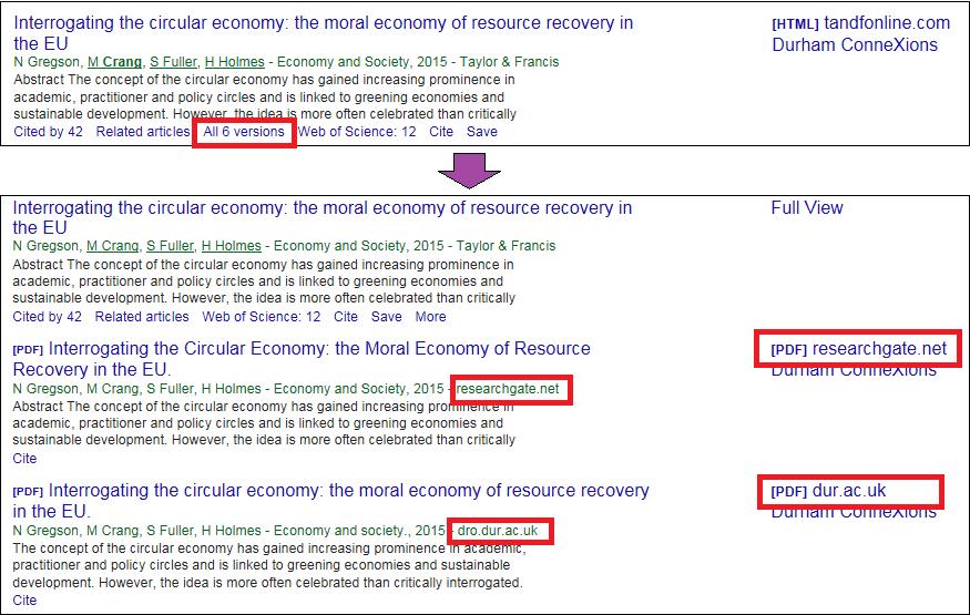 Google Scholar: Click on Versions below each result