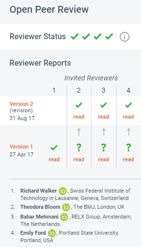 Snapshot from F1000 Research page, showing 4 ticks as all 4 reviewers recommended acceptance.
