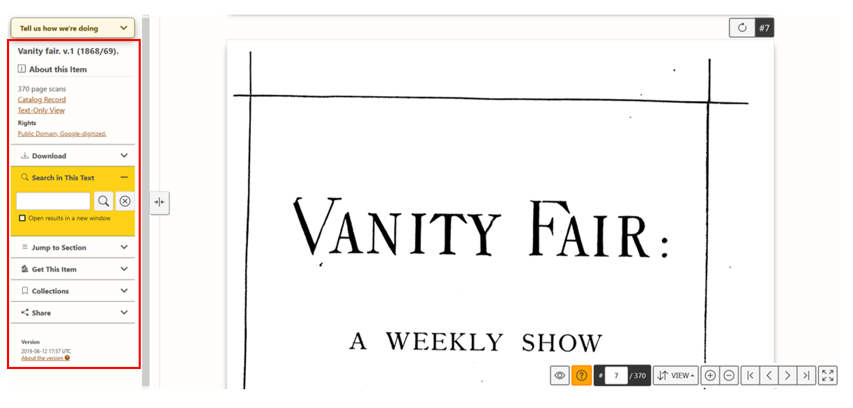 A screenshot of Vanity Fair volume one, page 7, as it presents in HathiTrust book viewer. The menu pane to the left is circled in red.