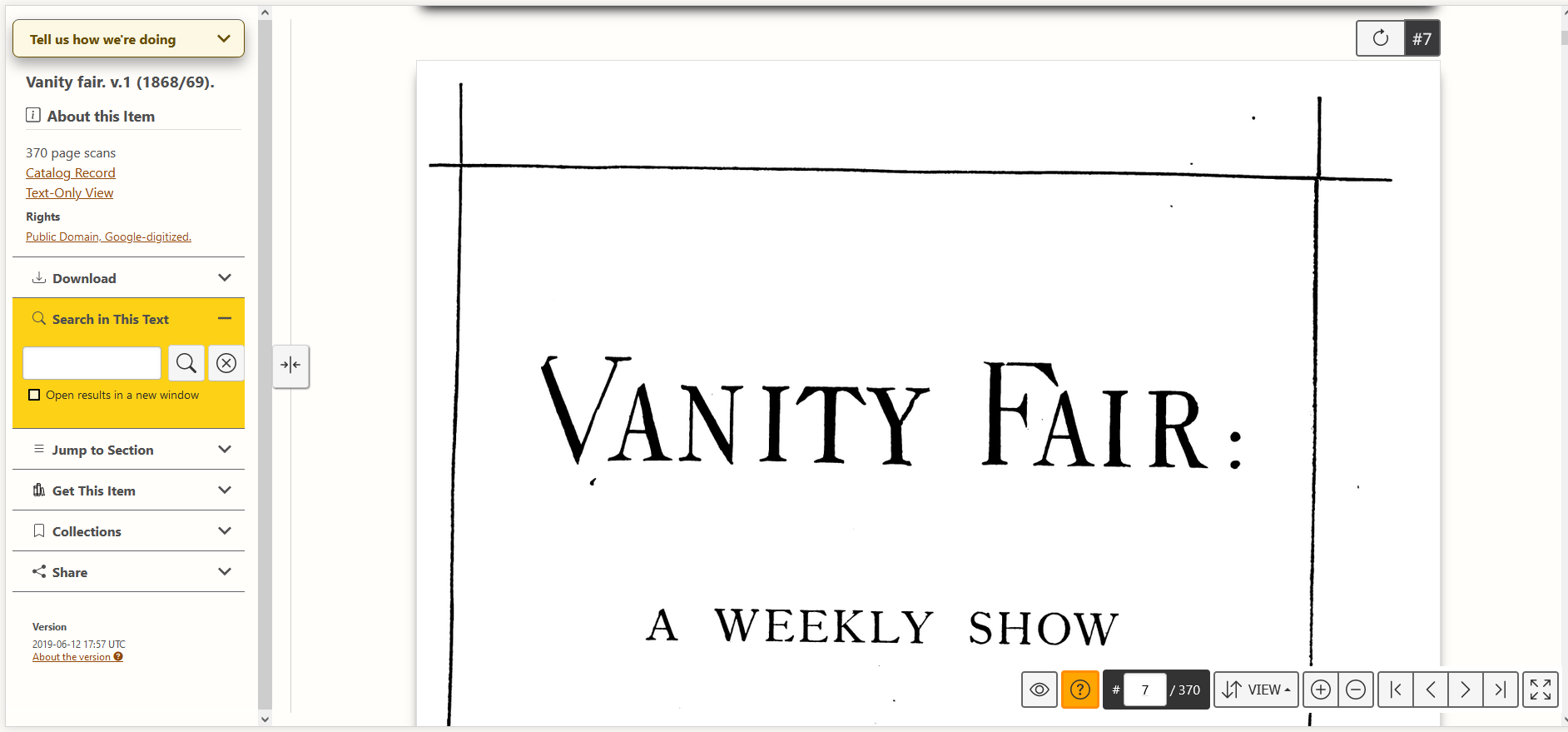 A screenshot of volume one of vanity fair, page 7, as it presents in HathiTrust's book viewer.