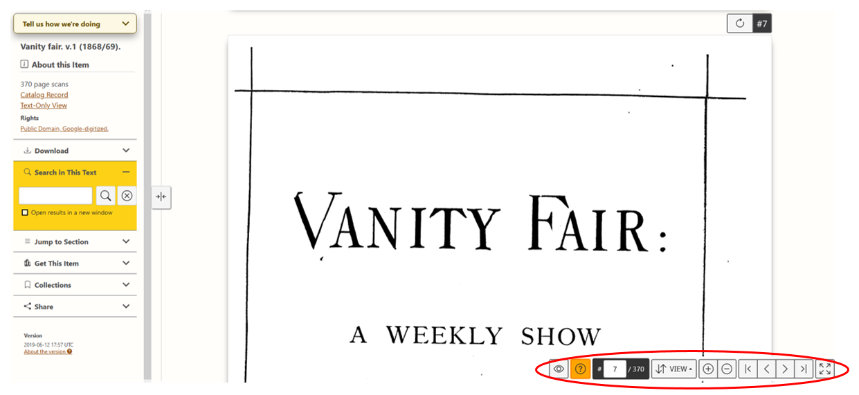 A screenshot of Vanity Fair volume one, page 7, as it presents in HathiTrust book viewer. The control panel in the bottom right of the image is circled in red.