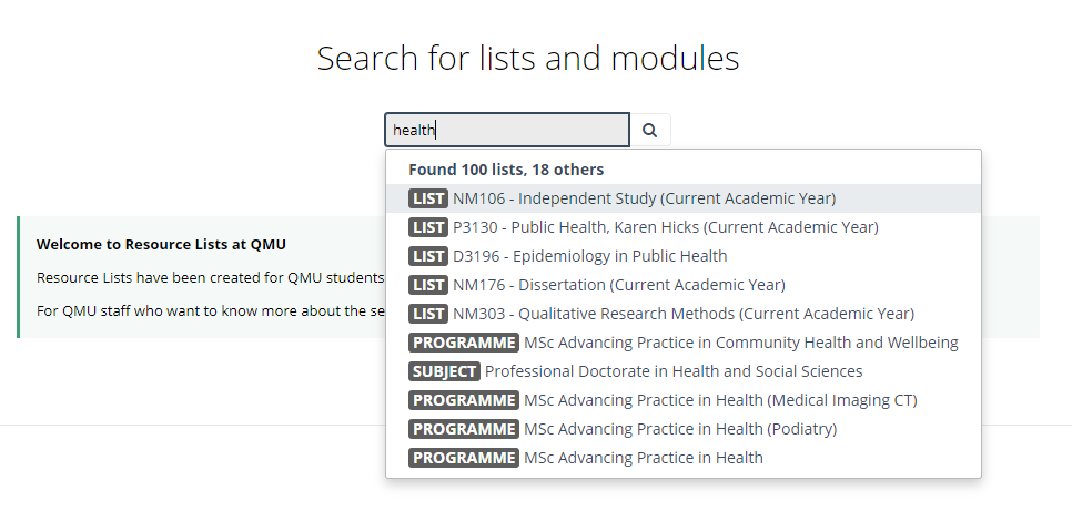 image of search box displaying results relating to the word health