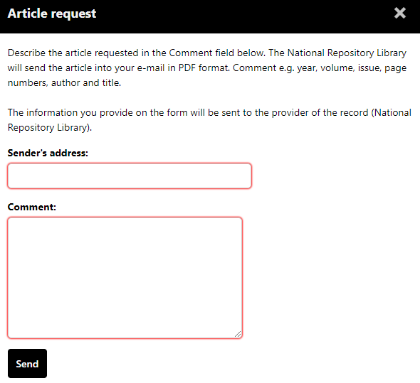 Filling in the article request form