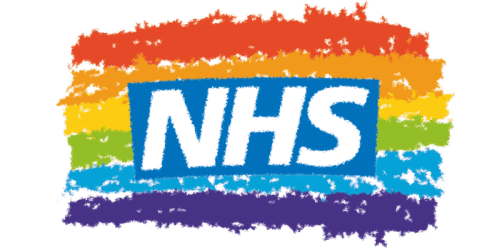 NHS logo with a rainbow coloured background
