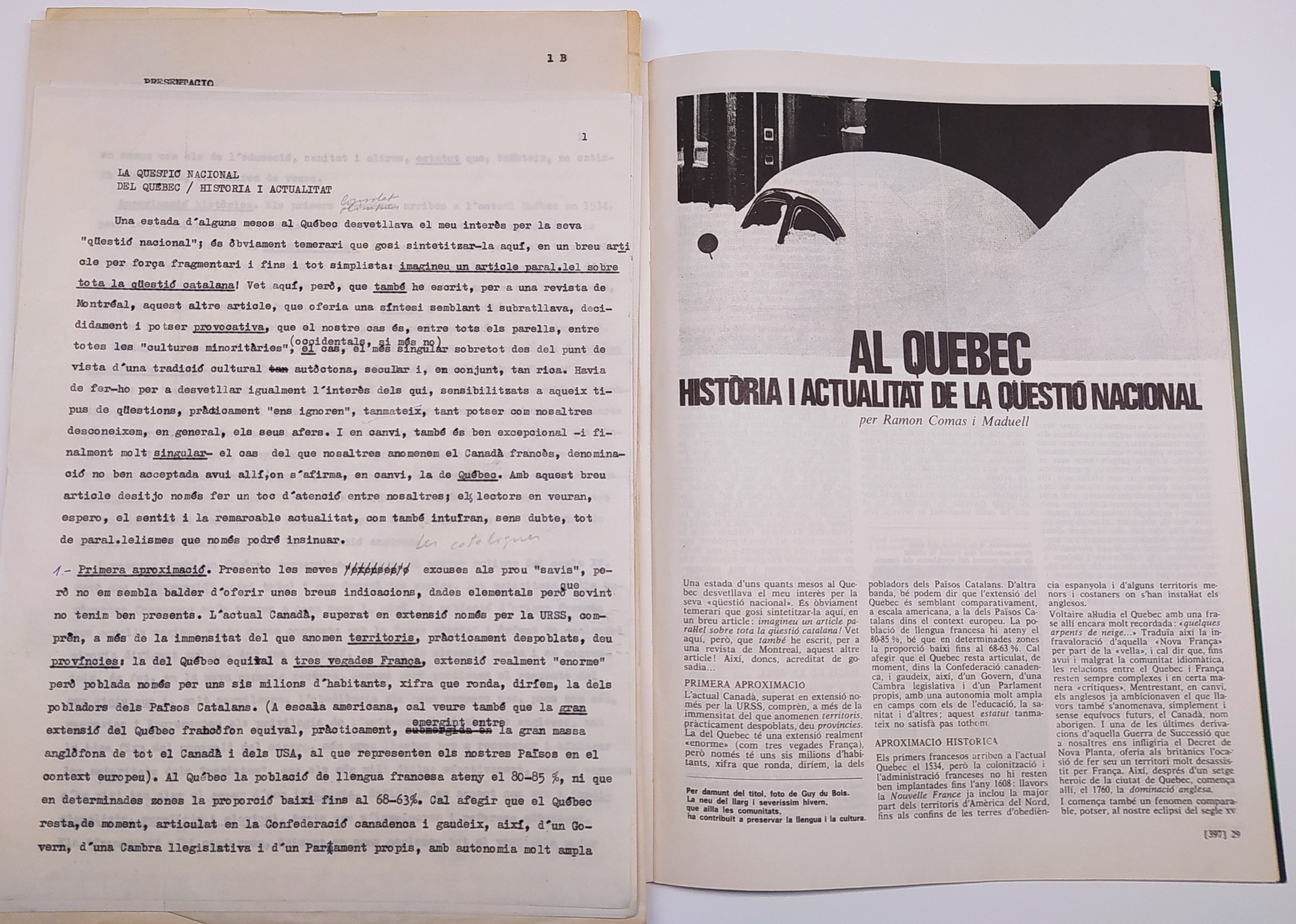 Article publicat a Serra d'Or sobre el Quebec i el seu manuscrit original