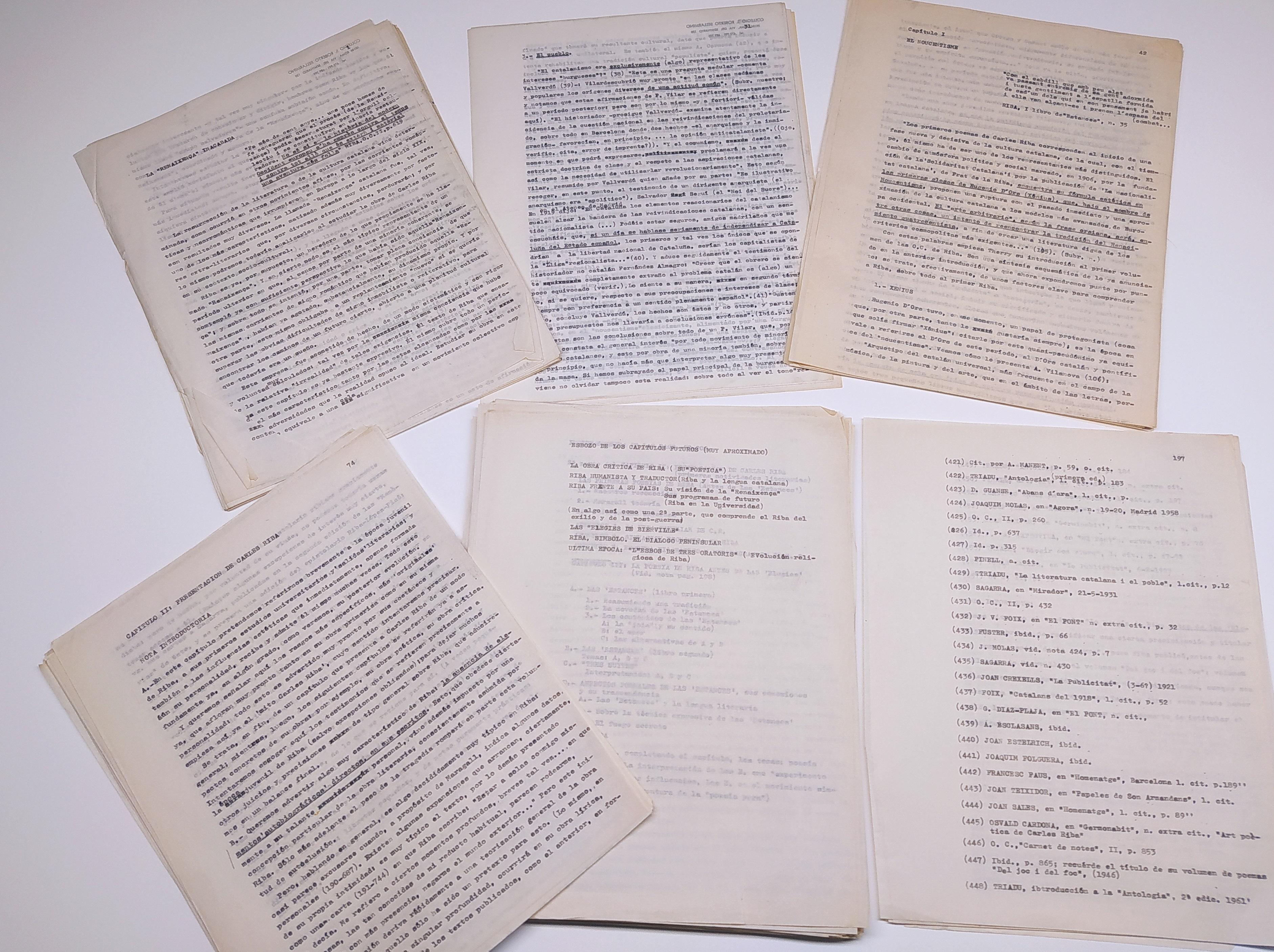 Fragments de la tesi inacabada de Ramon Comas sobre Carles Riba
