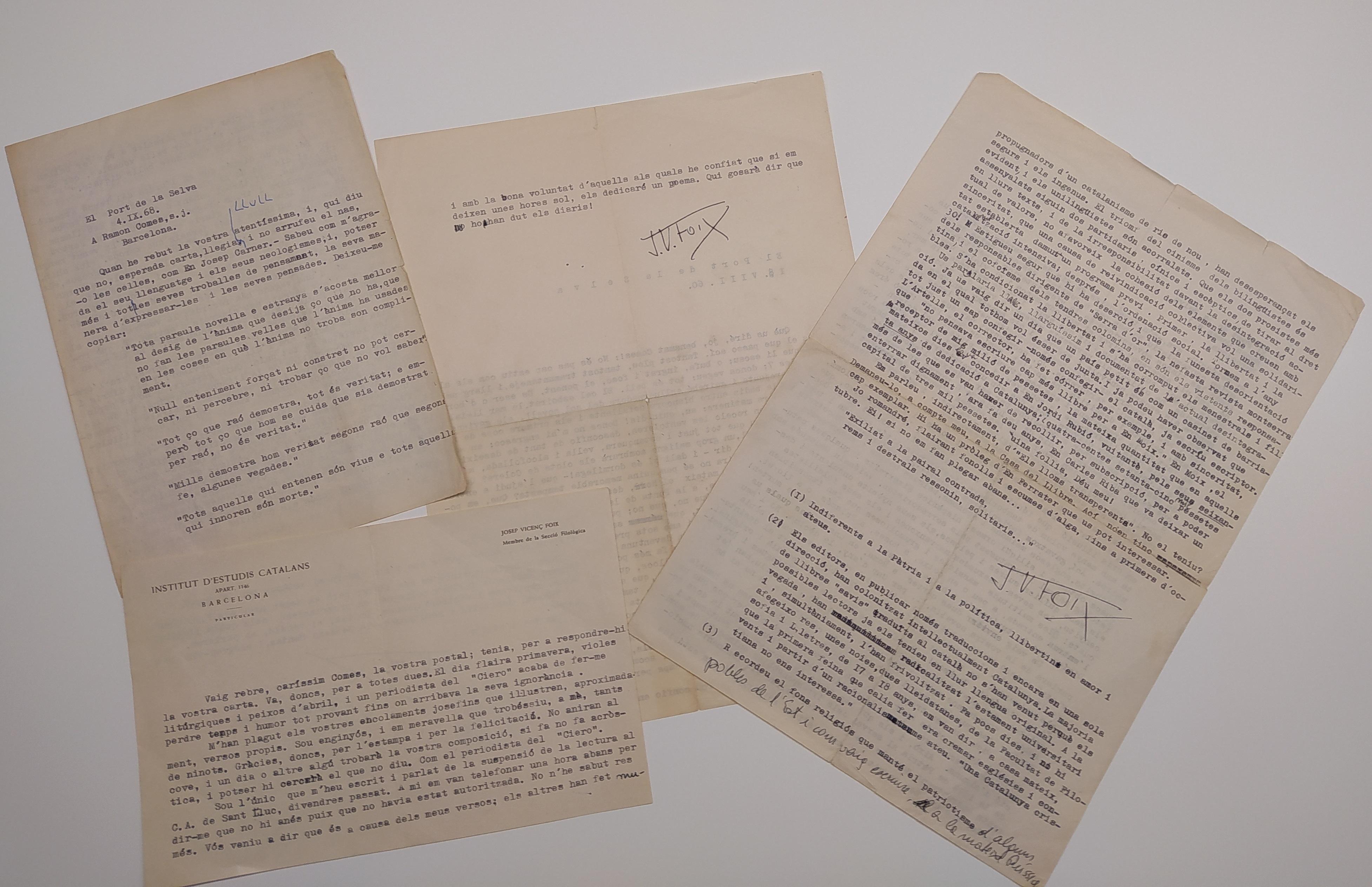 Cartes de J. V. Foix rebudes per Ramon Comas