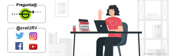 Noia saludant i treballant amb un portatil