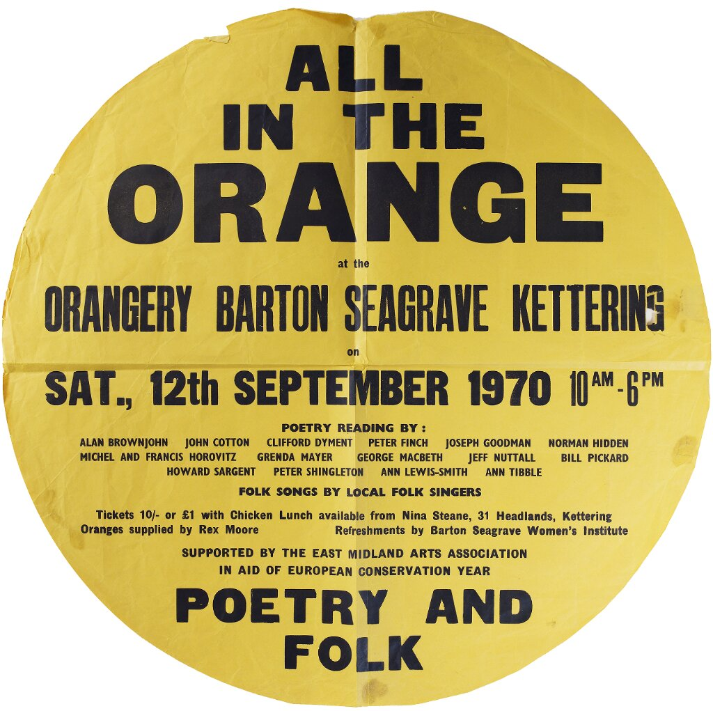 Poster for All in the orange, poetry reading at the Orangery, Barton Seagrave, Kettering, September 1970 (HID/10/71)
