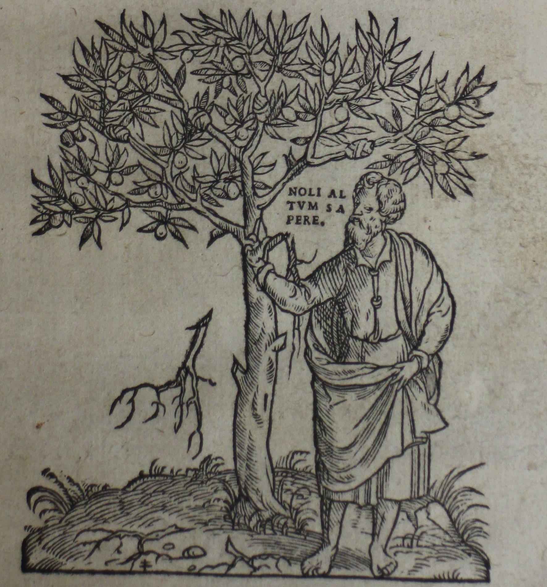 Printer's device of a man standing beside a tree