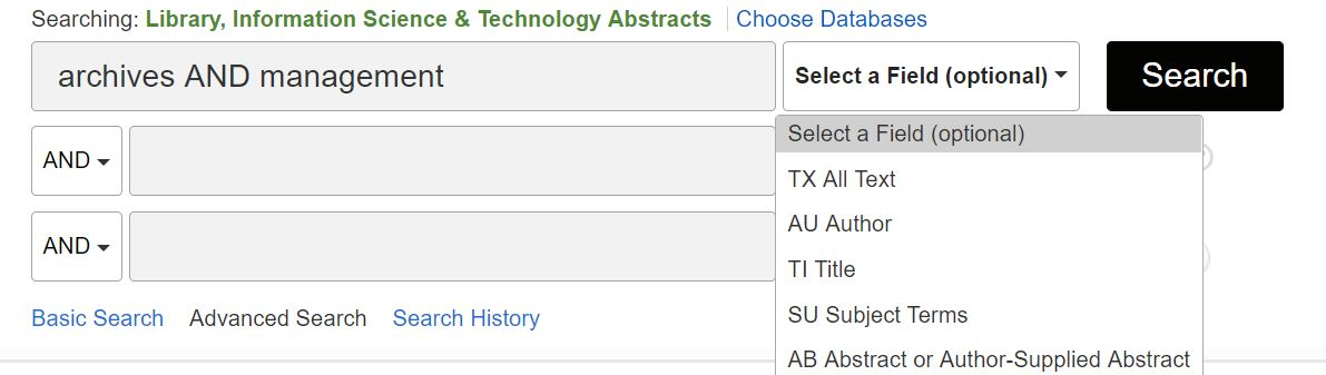 Screenshot of EBSCOhost advanced search boxes