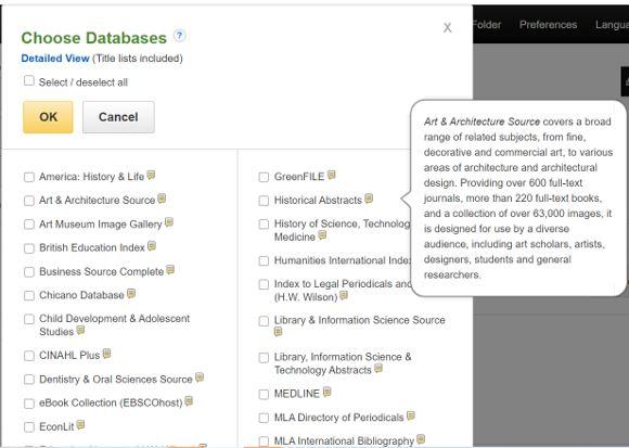 Screenshot of EBSCOhost choose databases menu