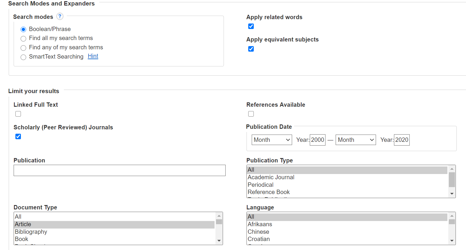 Screenshot of EBSCOhost search options