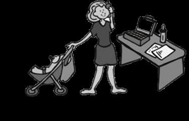 Decorative cartoon illustrating multitasking