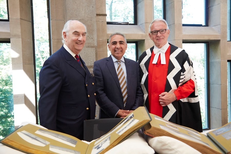 Photo of Prince Abbas Hilmi, Chairman of the Trustees of the Mohamed Ali Foundation, Professor Anoush Ehteshami, and Vice-Chancellor Professor Stuart Corbridge, at the inauguration of the Mohamed Ali Foundation Fellowship programme on 29 June 2018