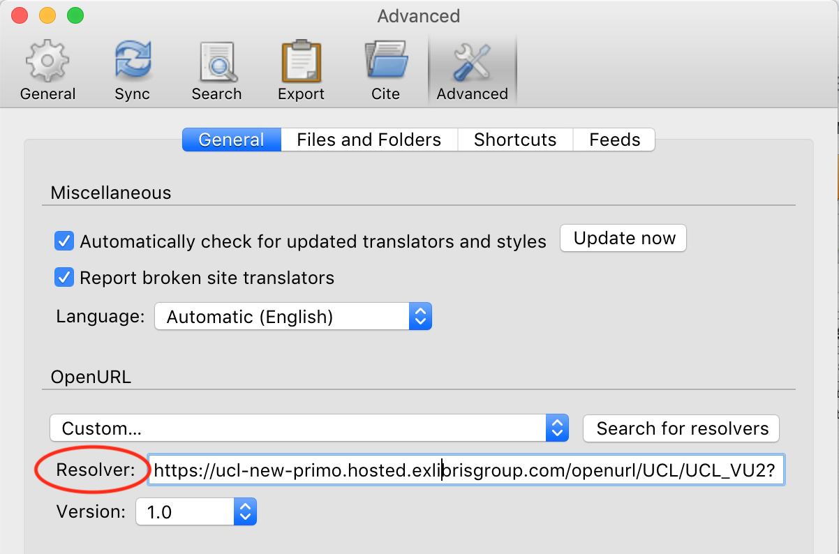 screenshot of the 'resolver' option under advanced
