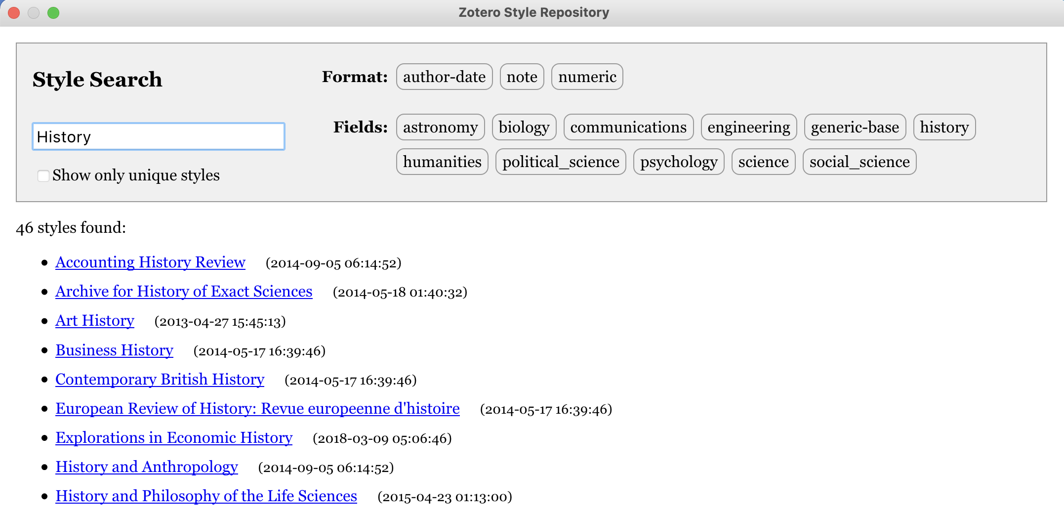 Screenshot of Zotero Sytle library