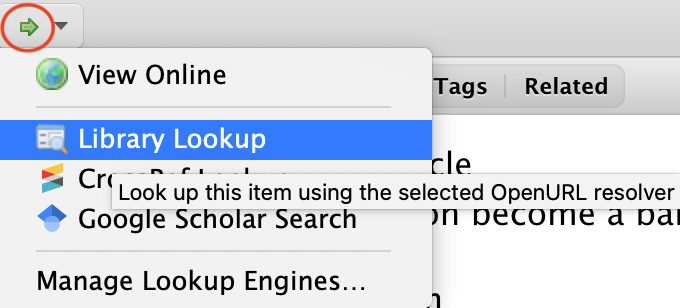 Screenshot of the library lookup
