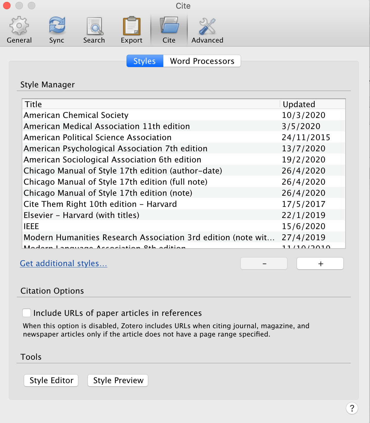 screensot of the styles tab in Zotero preferences