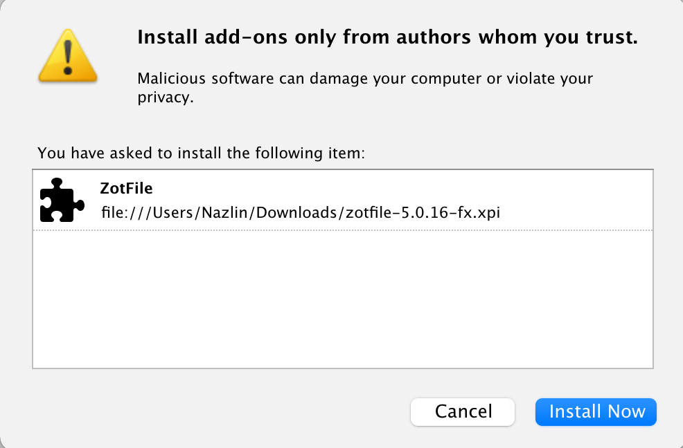 screenshot of install from add-ons