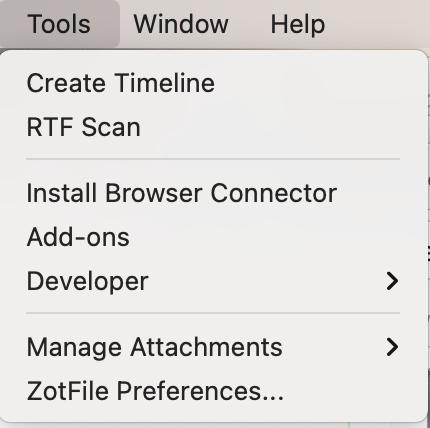 Screenshot of Zotfile Preferences on Zotero Tools