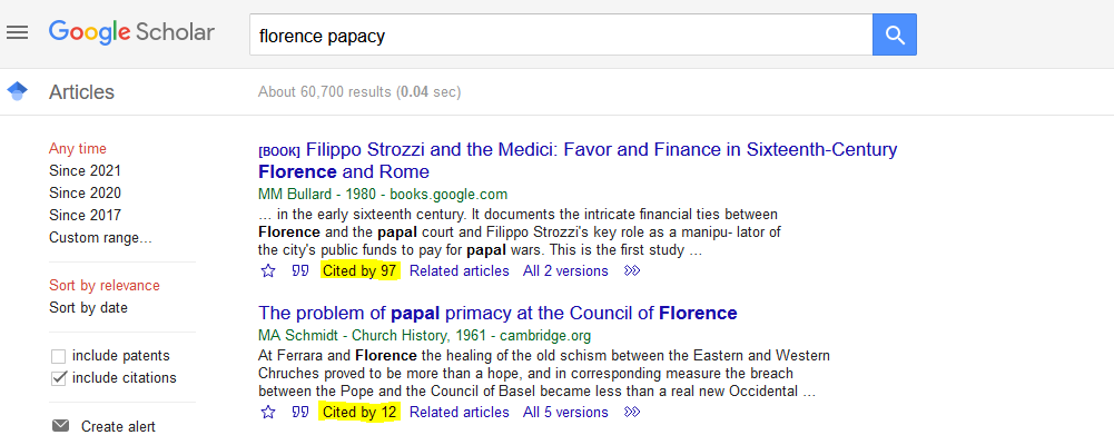A search for topic in Google Scholar