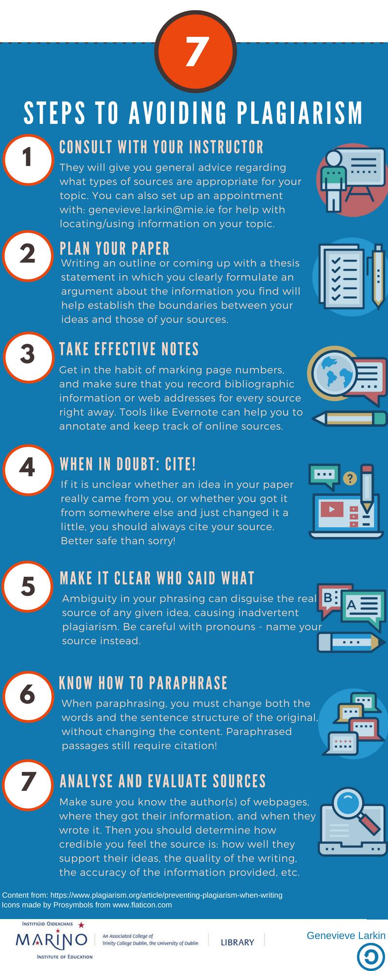 7 steps to avoiding plagiarism infogrpahic