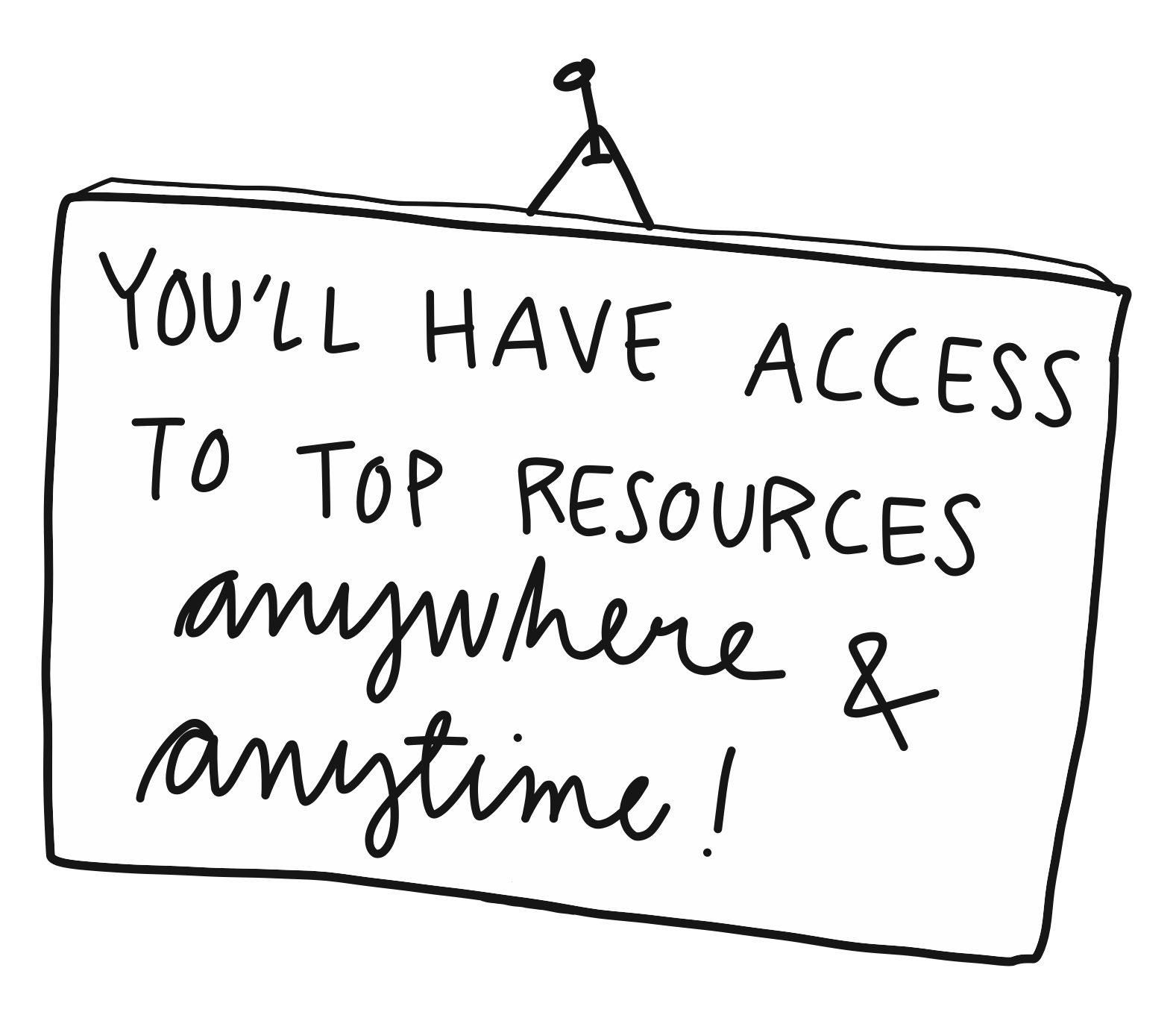 """Cartoon image of a nailed note with the message """"You'll have access to top resources anywhere & anytime!"""""""