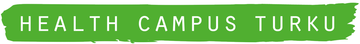 Health Campus Turku logo, white capital letters on a green background.