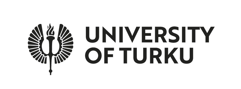 University of Turku logo, black capital letters with a lit winged torch on the left.