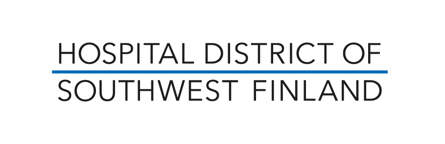 Hospital district of southwest Finland logo, large black uppercase letters with a blue horizontal line between two lines of text.
