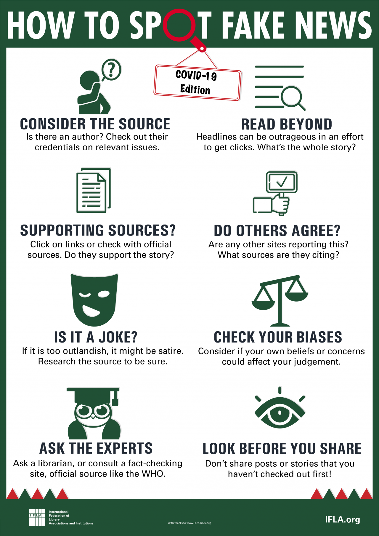 """Infographic: """"How to spot fake news - Covid-19 edition"""". 1. Consider the source: Is there an author? Check out their credentials on relevant issues. 2. Read beyond: Headlines can be outrageous in an effort to get clicks. What's the whole story? 3. Supporting sources?: Click on links or check with official sources. Do they support the story? 4. Do others agree?: Are any other sites reporting this? What sources are they citing? 5. Is it a joke?: If it is too outlandish, it might be satire. Research the source to be sure. 6. Check your biases: Consider if your own beliefs or concerns could affect your judgement. 7. Ask the experts: Ask a librarian, or consult a fact-checking site, official source like the WHO. 8. Look before you share: Don't share posts or stories that you haven't checked out first!"""