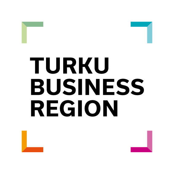 Turku Business Region logo, black, bold uppercase letters inside a square showing only colourful corners.