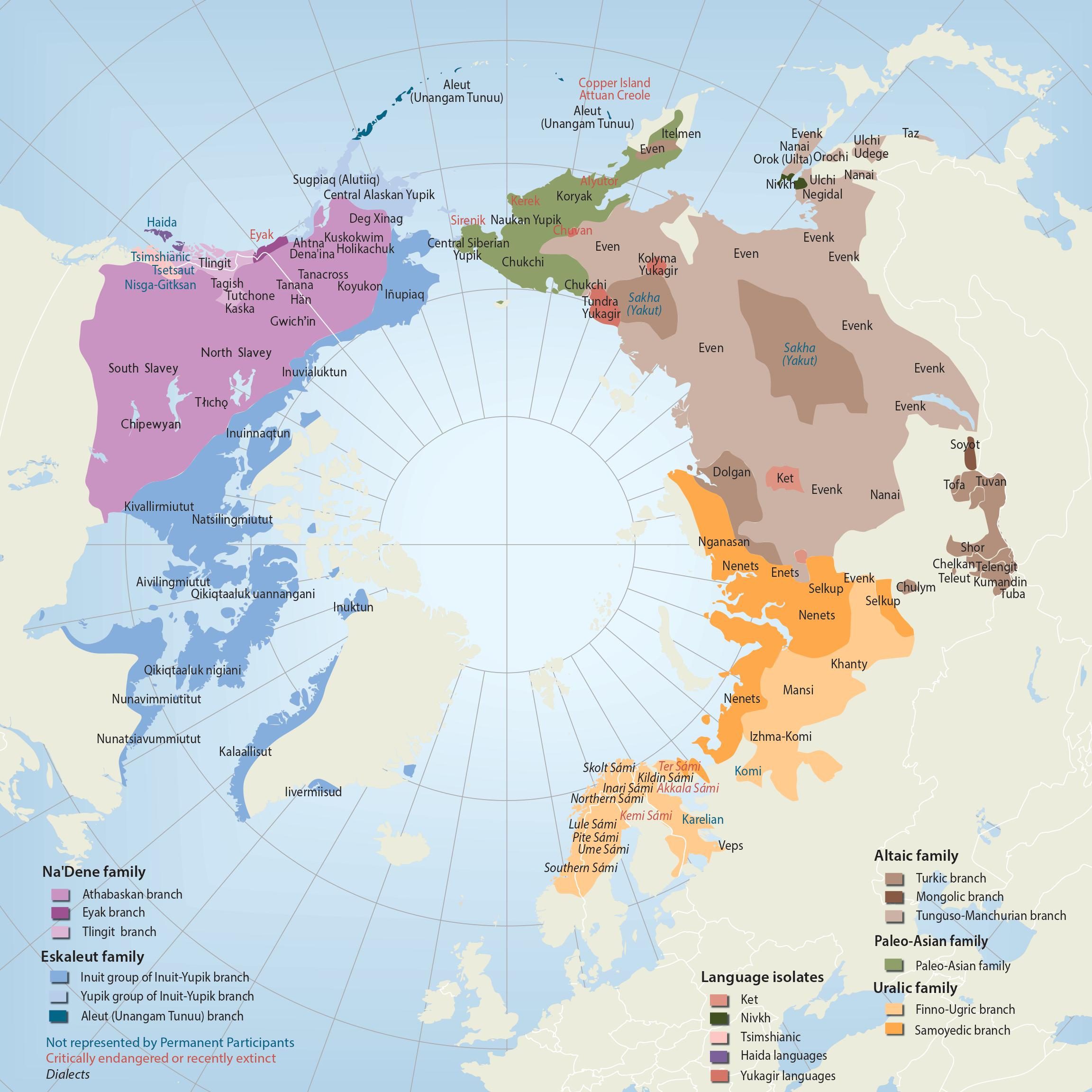 Map showing the Arctic circle with geographic areas demarcated according to Indigenous language