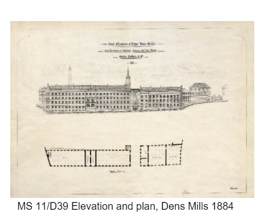 Elevation and plan, Dens Mill 1884